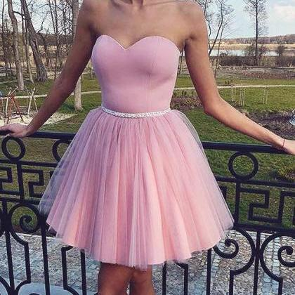 Pearl Pink cute Strapless Tulle Bea..