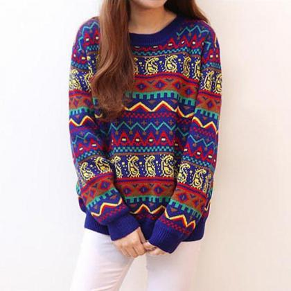 Fashion Loose Long Sleeve Colorful Women Sweater