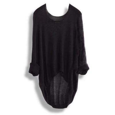 Fashion Black Batwing Casual Loose Women Sweater