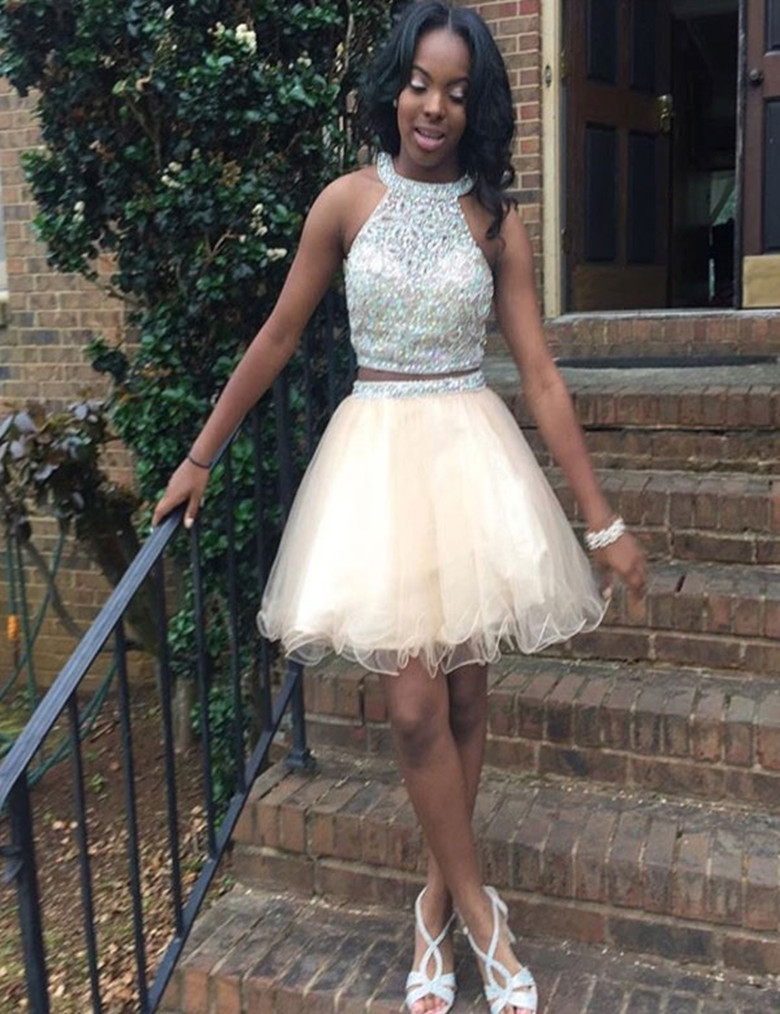 Halter Crystal Two Piece Homecoming Dresses,Homecoming Dress,Cocktail Short Dress
