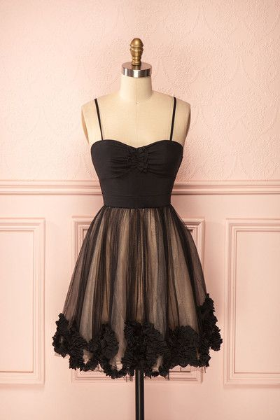 Black Chiffon Bowknot Sexy Homecoming Dress