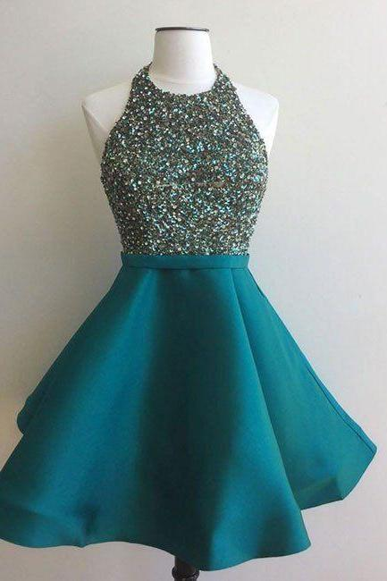Green Sequins Satin Homecoming Dresses, Halter Strapless Homecoming Dress