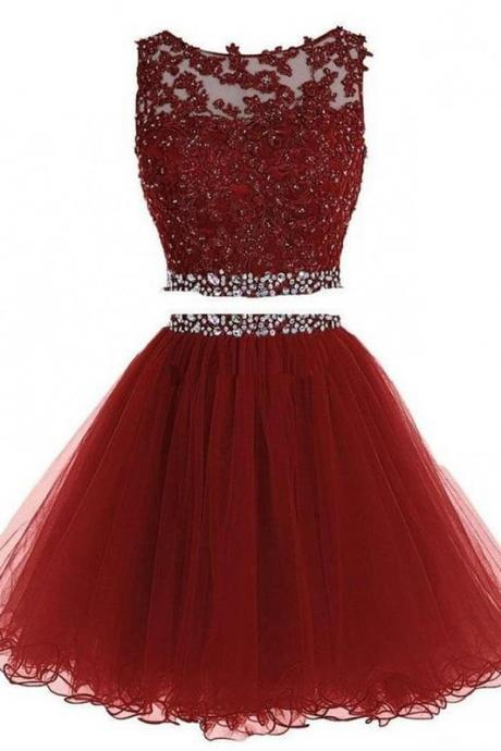 Red Tulle Beaded Homecoming Dress, Two Piece Homecoming Dresses