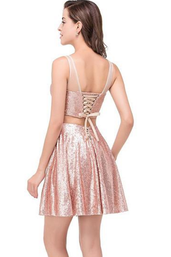 Sexy Lace-Up Sequined Cocktail Dresses, Two-Pieces Mini Homecoming Dress