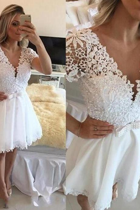 White Deep V Neck Beaded Homecoming Dress