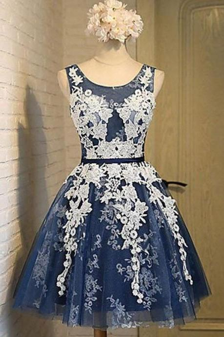 Navy Blue A-Line Appliques Homecoming, Round Neck Short Prom Dress