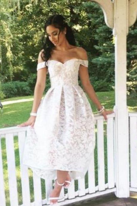 White Lace High Low Homecoming Dress, Off the shoulder Bridesmaid Dress