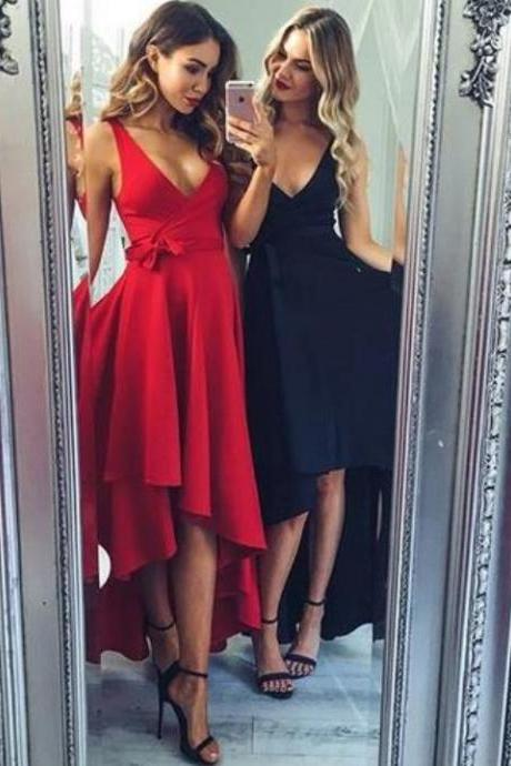 Red/Black Sexy V Neck Homecoming Dress,High Low Long Homecoming Dress with Sash