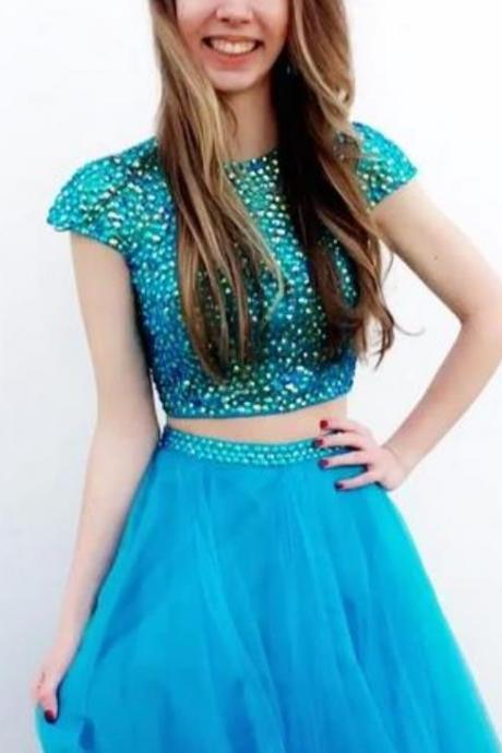 Blue Two Piece Crystal Homecoming Dress