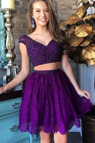 Purple Two-Piece Homecoming Dress Featuring Plunge V Cap Sleeves Crop Top and Short Skirt