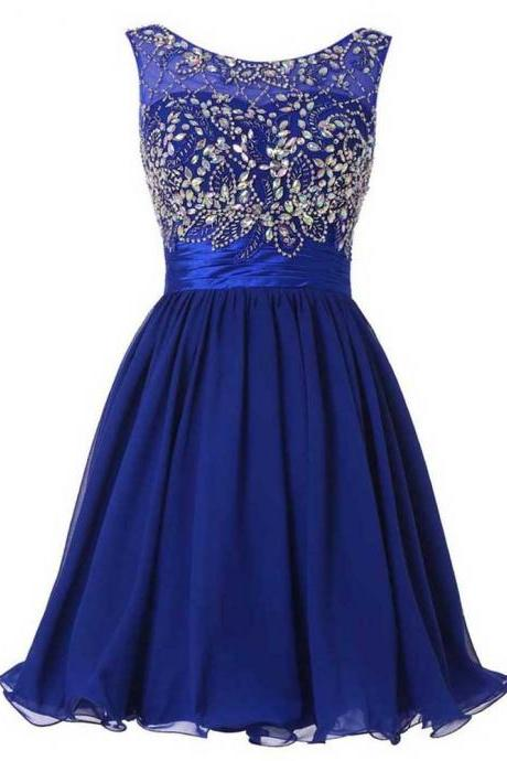 Royal Blue Beading Chiffon Homecoming Dresses, Strapless Homecoming Dress
