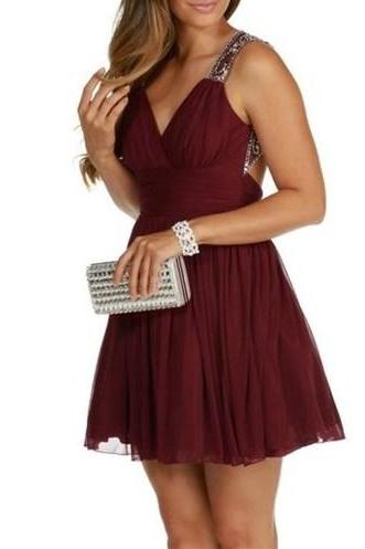 Burgundy Chiffon Short Homecoming Dress,V Neck Backless Sexy Homecoming Dress
