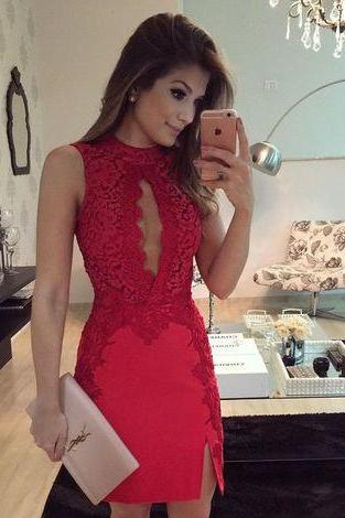 Red Lace Strapless Short Sexy Homecoming Dress 2017