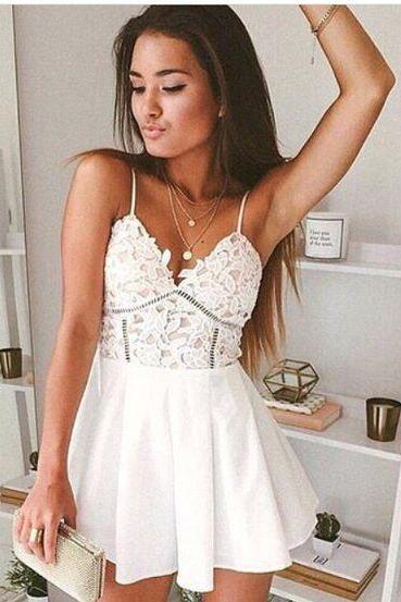 White lace Chiffon Sexy Homecoming Dress, V Neck Mini Summer Homecoming Dress