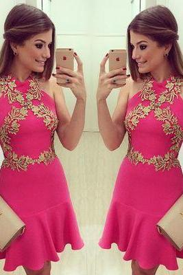 Pink Applique Halter Short Simple Homecoming Dress