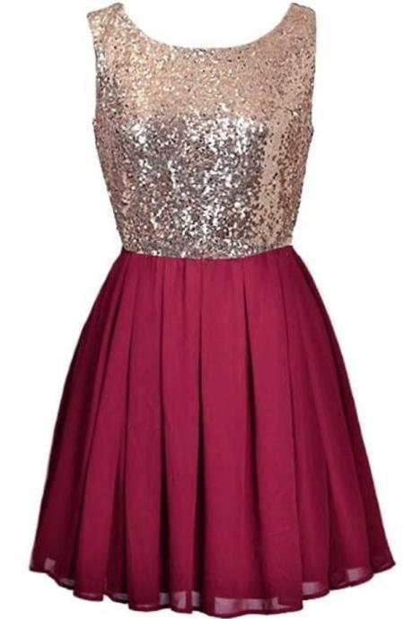 Burgundy Chiffon Sequins Homecoming Dress,Strapless Sexy Homecoming Dresses