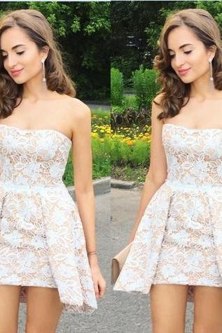 White Lace strapless Off Shoulder Short Homecoming Dresses