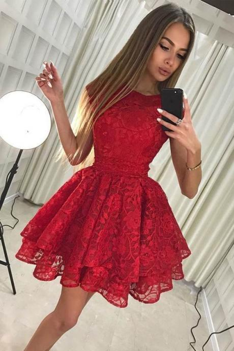 Red Full Lace Applique Short Homecoming Dresses