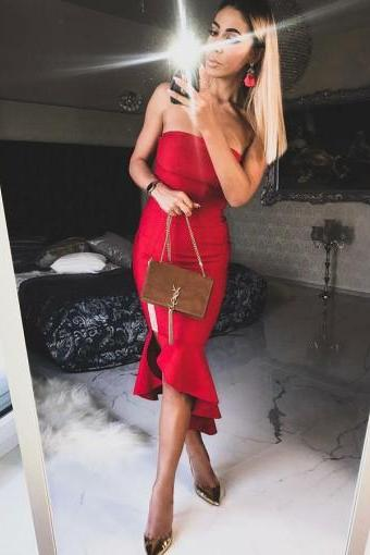 Sheath Red Strapless Homecoming Dresses With Ruffles Cocktail