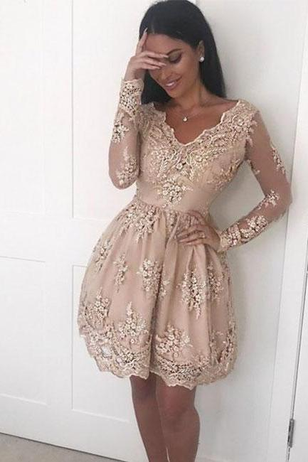 Champagne V-neck Lace Long Sleeve Homecoming Dresses