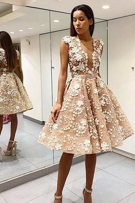 Lace Applique Floral V-neck Backless Pleated Homecoming Dresses