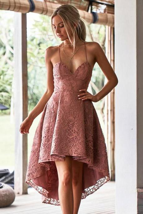 Pink Blush Lace V-neck Spaghetti Straps Backless High Low Homecoming Dresses