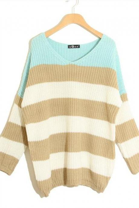 V-Neck Colourful Striped Drop Shoulder Knitted Sweater