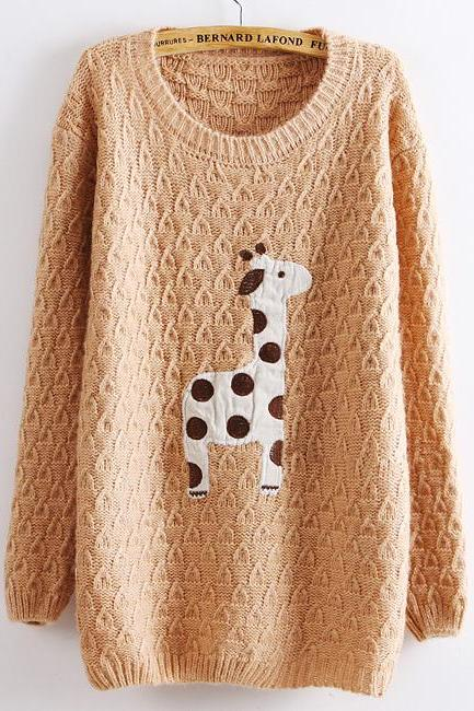 Fashion Women Sweater with Giraffe Pattern