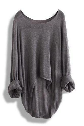 Fashion Grey Casual Loose Women Sweater