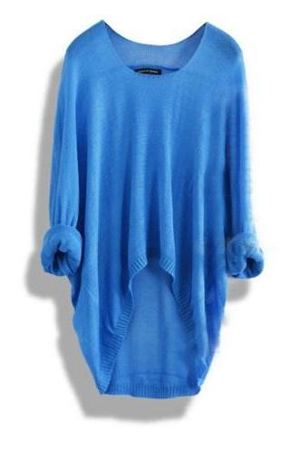 Fashion Casual Blue Loose Women Sweater
