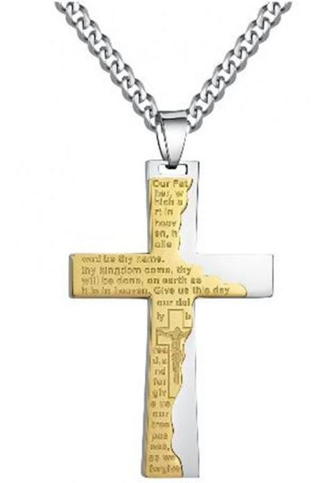 Fashion Stainless Steel Men's Cross W. Ip Tablet Prayer in English Pendant Gold Necklace