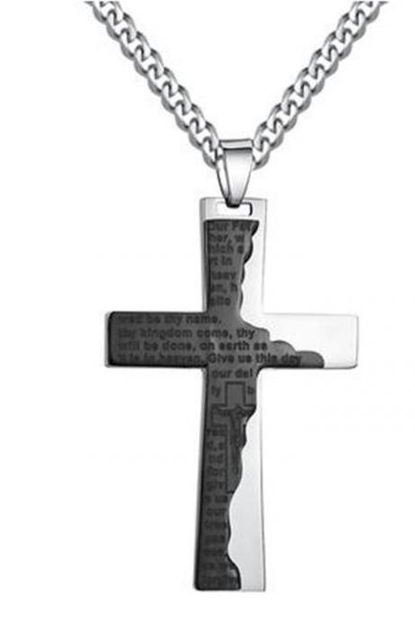Men's Cross W. Ip Tablet Prayer in English Pendant Necklace