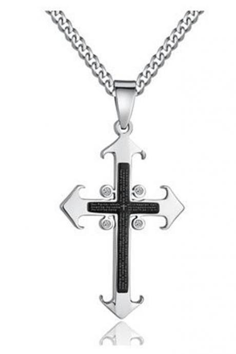 Fashion Men's Cross W. Lord's Prayer in English and Cubic Zirconia Pendant Necklace