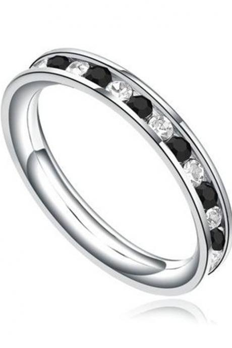 Stainless Steel 3mm Eternity Ring W. Black and Clear Cubic Zirconia