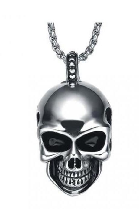 Stainless Steel Men's Gothic Smiling Skull Pendant Necklace