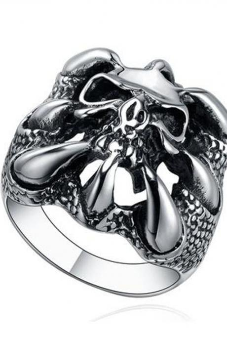 Stainless Steel Gothic Dragon Claw W. Skull Men's Biker Ring