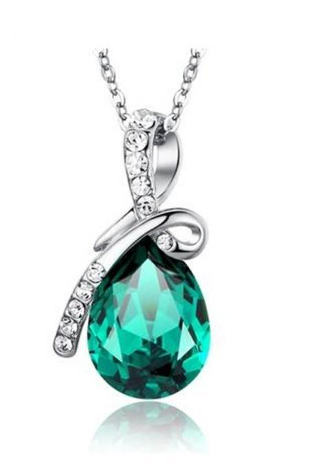 Eternal Love Teardrop Swarovski Elements Crystal Pendant Ocean Green Necklace