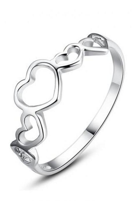 Sterling Silver Open Heart Lightweight Girls Ring