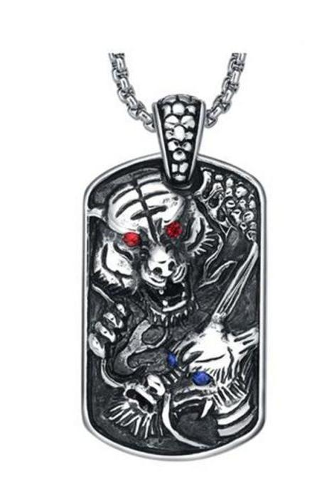 Stainless Steel Men's Gothic Tiger and Dragon W. Blue and Red Crystal Pendant Necklace