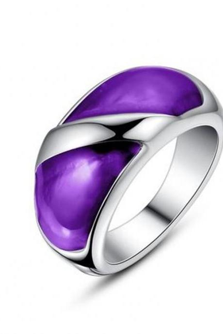 Stainless Steel Purple Epoxy Ring