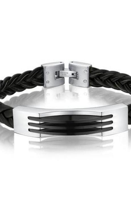 Braided Leather and Stainless Steel Mens Bracelet