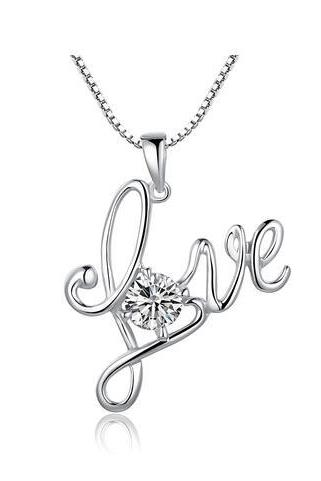 Sterling Silver Love W. Cubic Zirconia Pendant Necklace