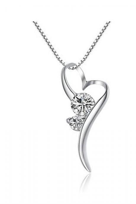 Sterling Silver Stylized Heart W. Cubic Zirconia Pendant Necklace