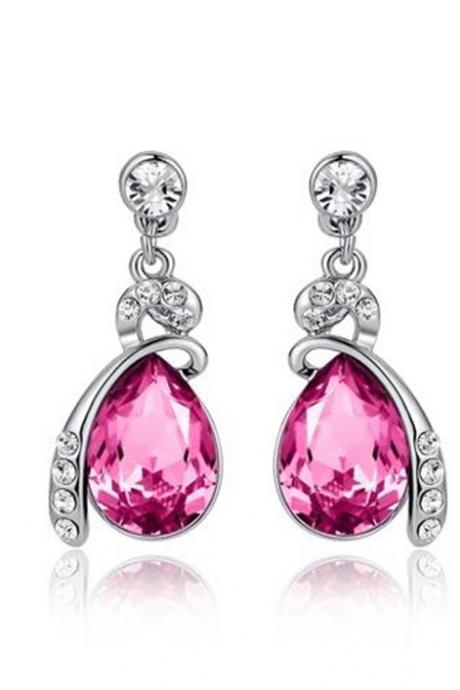 Eternal Love Teardrop Swarovski Elements Crystal Drop Earrings