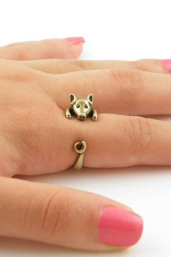 Lucky Pig Animal Wrap Ring Fine Jewelry for Ladies