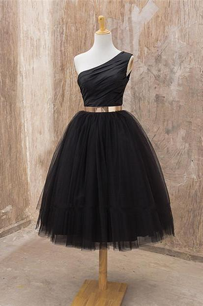 Black One Shoulder Tea Length Homeocming Dress with Gold Belt ,Tulle Simple Homeccoming Dresses