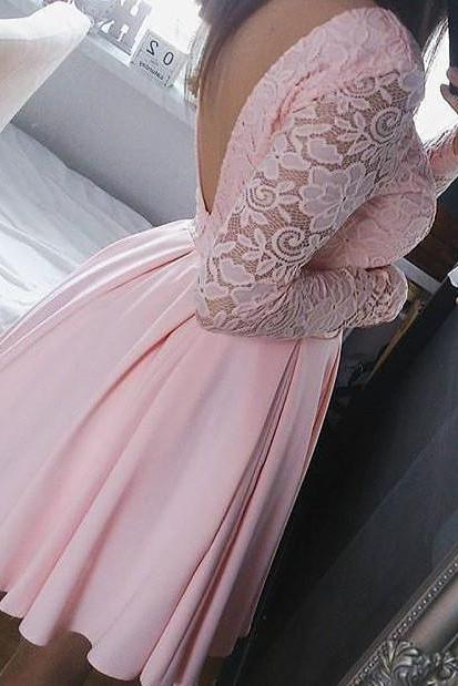 Pink Long Sleeve Summer Dresses,Lace Open Back Short Homecoming Dresses,Homecoming Dress