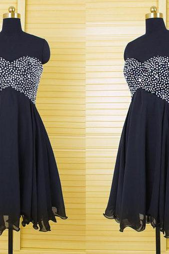 Black Sexy Strapless Beading Dress,Homecoming Dresses,Dress For Homecoming
