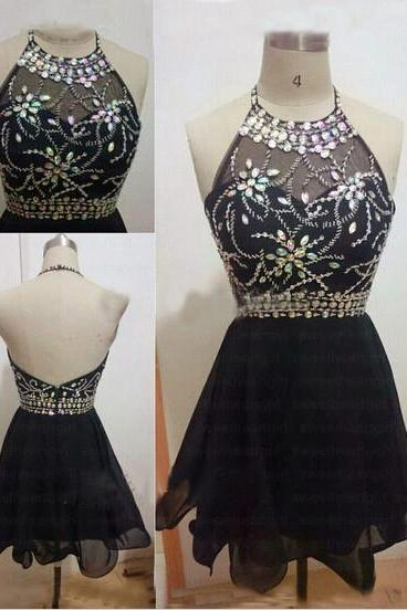 Black Crystal Halter Homecoming Dress,Backless Homecoming Dresses,Short Prom Dress