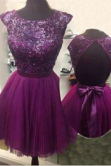 Capped Backless Sequin Homecoming Dress,Purple Chiffon Prom Dress,Dress For Homecoming